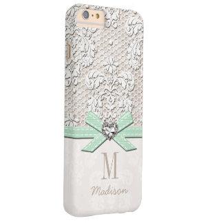 Cordón del diamante artificial de la menta y funda barely there iPhone 6 plus