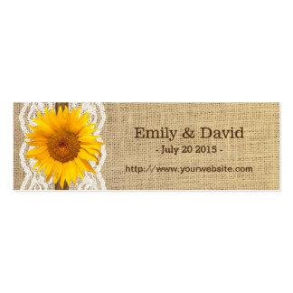 Cordón del girasol del país y Web site del boda de Tarjetas De Visita Mini