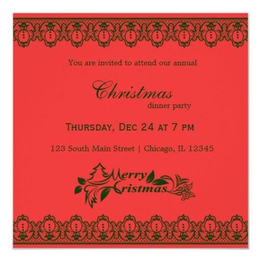 """Cordón del navidad invitación 5.25"""" x 5.25"""""""