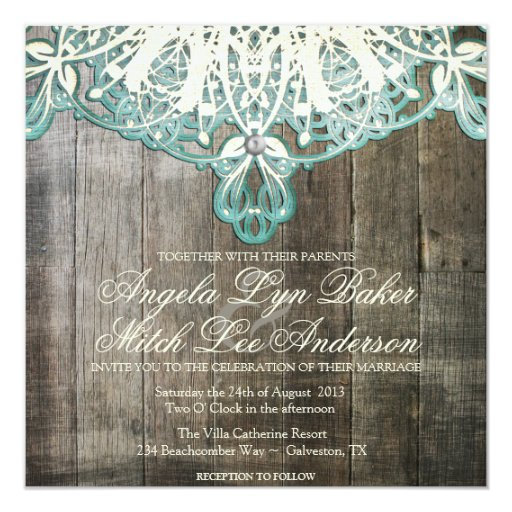 Cordón del país e invitación rústica de madera del