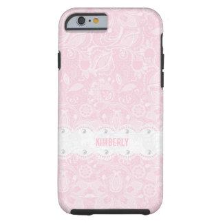 Cordón del rosa en colores pastel y del blanco y funda de iPhone 6 tough