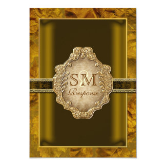 Cordón del vintage de la hoja de oro de Brown Invitación 12,7 X 17,8 Cm