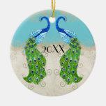 Cordón del vintage de la turquesa del pavo real de adornos de navidad