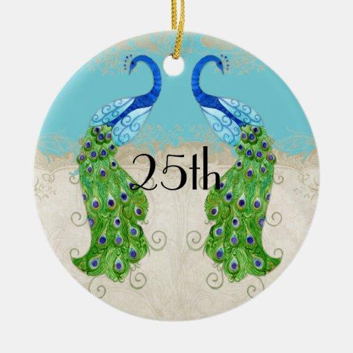 Cordón del vintage de la turquesa del pavo real de ornamentos de reyes