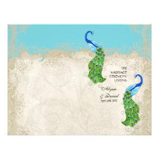 """Cordón del vintage de la turquesa del pavo real folleto 8.5"""" x 11"""""""