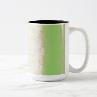 Cordón del vintage de la verde lima del pavo real  taza de café