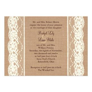 Cordón del vintage e invitación de marfil de la ar