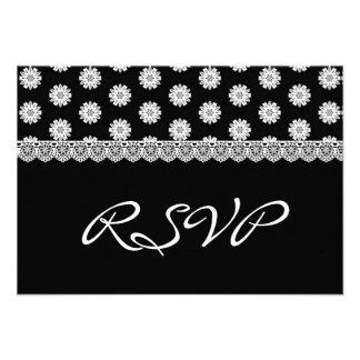 Cordón del vintage que casa RSVP V04 blanco y negr Invitaciones Personalizada