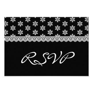 Cordón del vintage que casa RSVP V05 blanco y negr Invitaciones Personales