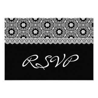 Cordón del vintage que casa RSVP V05 blanco y negr Invitación