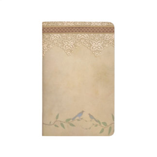 Cordón del vintage y diario del bolsillo de los pá cuaderno grapado