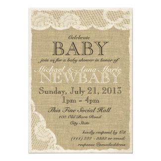 Cordón del vintage y fiesta de bienvenida al bebé invitación 12,7 x 17,8 cm