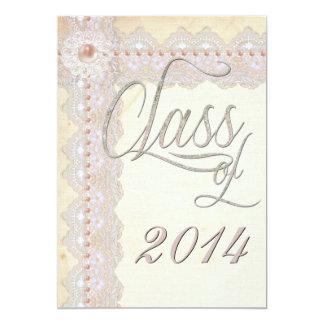 Cordón del vintage y fiesta de graduación de las invitación