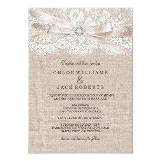 Cordón del vintage y invitación bonitos del boda
