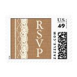 Cordón del vintage y sello de marfil de RSVP de la
