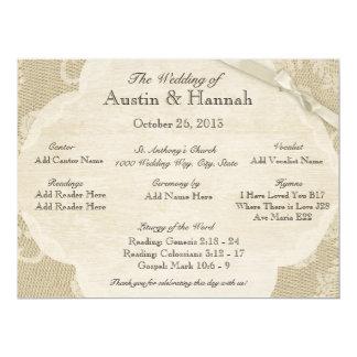 """Cordón del vintage y tarjeta de programa del boda invitación 6.5"""" x 8.75"""""""