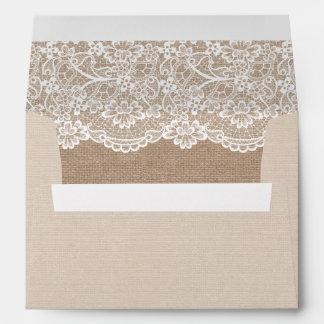 Cordón elegante de la arpillera rústica del país sobres