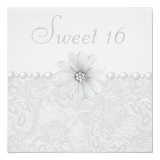 """Cordón elegante de Paisley, flores y dulce 16 de Invitación 5.25"""" X 5.25"""""""