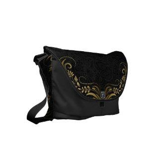 Cordón elegante del oro y fondo negro de Paisley Bolsa Messenger