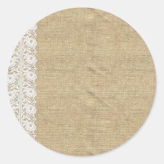 Cordón en blanco de la arpillera - empaquetado pegatina redonda