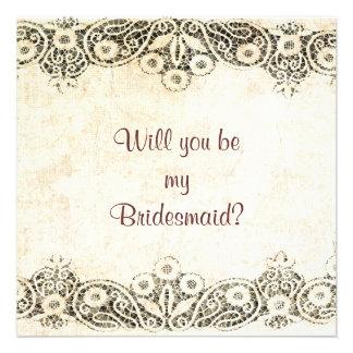 cordón en la arpillera usted será mi dama de honor invitación personalizada