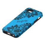Cordón femenino floral negro de Monogramed y azul iPhone 5 Carcasas