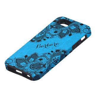 Cordón femenino floral negro de Monogramed y azul iPhone 5 Cárcasas