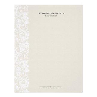 Cordón floral 2 del vintage beige y blanco membrete a diseño