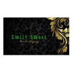 Cordón floral 4 del oro negro elegante de los dama plantillas de tarjetas personales