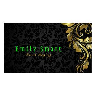 Cordón floral 4 del oro negro elegante de los dama tarjetas de visita