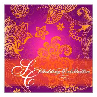 Cordón floral anaranjado de PixDezines fuentes diy Comunicado Personalizado