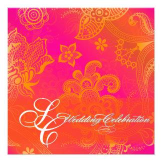 Cordón floral anaranjado de PixDezines Comunicado Personalizado