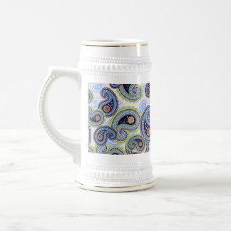 Cordón floral azul hermoso de Paisley Jarra De Cerveza