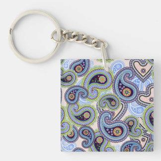 Cordón floral azul hermoso de Paisley Llavero Cuadrado Acrílico A Una Cara