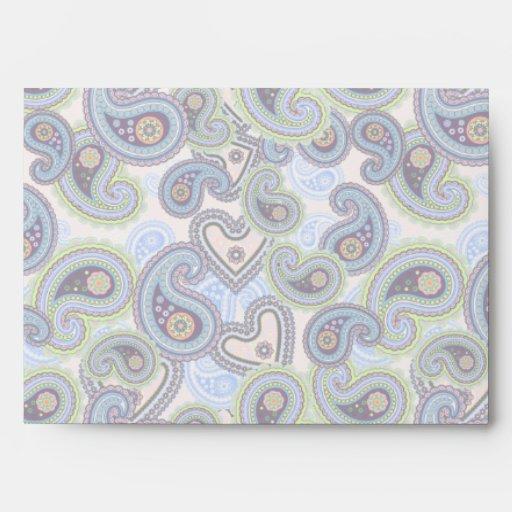 Cordón floral azul hermoso de Paisley