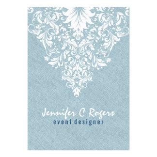 Cordón floral blanco de la textura de lino azul tarjetas de visita