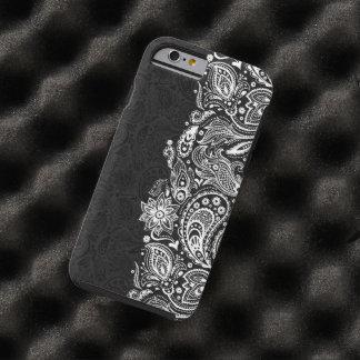 Cordón floral blanco y negro elegante de Paisley Funda De iPhone 6 Tough
