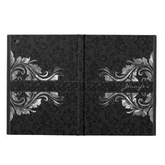 Cordón floral de la plata metalizada negra de los