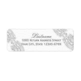 Cordón floral de los gris plateados del Victorian Etiqueta De Remite