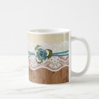 Cordón floral de madera amarillo elegante taza de café