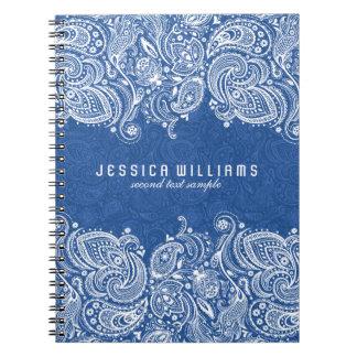 Cordón floral de Paisley del blanco y de los Notebook