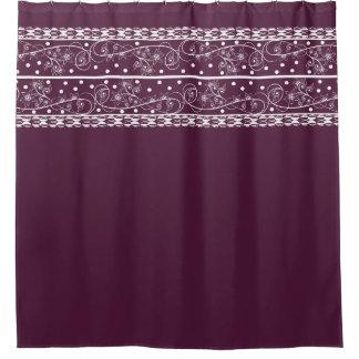 Cordón floral del ciruelo elegante cortina de baño
