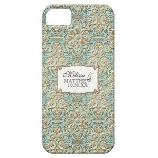 Cordón floral del damasco del falso oro de Nouveau iPhone 5 Fundas