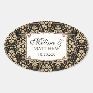 Cordón floral del damasco del falso oro de Nouveau Colcomanias De Óval