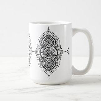 Cordón floral del negro geométrico elegante de la taza de café