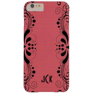 Cordón floral del negro rojo coral de la textura funda de iPhone 6 plus barely there