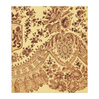Cordón floral del oro impresión en lona estirada