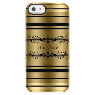 Cordón floral del oro y de las rayas negras funda clearly™ deflector para iPhone 5 de uncommon