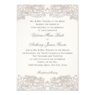 """Cordón floral del Victorian en el boda blanco del Invitación 5"""" X 7"""""""