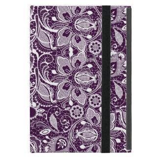 Cordón floral del vintage de color morado oscuro y iPad mini fundas